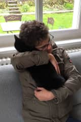 Tony and Nera the cat at a sit in Zurich, Switzerland