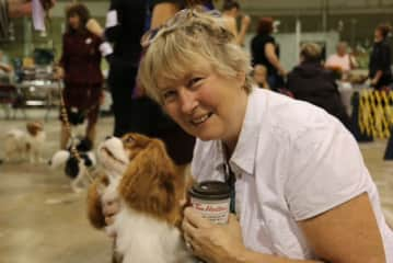 Jan with a Cavalier King Charles Spaniel