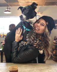 Tipsy and I at a brewery. She's 40 lbs but she doesn't seem to know that.