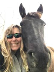 Denise and Shadow. One of our 3 horses.
