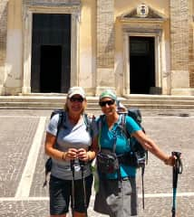 Suzie, (my best friend for over 40 years and my son's Godmother) and me in Monte Sacro, Italy.  We are both retired and travel extensively.   The last 10 miles of the 500 hundred we walked on the Via San Francesco.  Life changing experience!