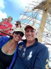 Sailing on a 400-ft long Tall Ship across the Atlantic Ocean.