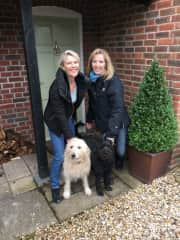 Me with lovely Labradoodles, Freya and Otto and homeowner and new friend, Sara in Dorset