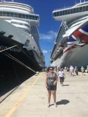 Joni on a cruise dock