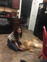 Emily with Maddie, our last family Golden Retriever.