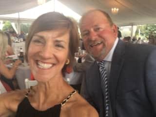 Roseanne and Jay enjoying a friend's wedding