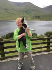 Me with a resident of Joyce Country Border Collie Ranch