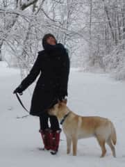 Wisconsin Walk in the Snow with Niko