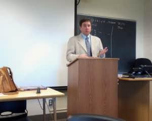 This is me teaching a university English/ESL class.