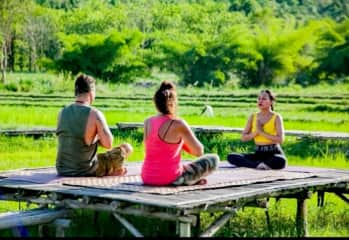 Learning yoga amongst the rice paddies, special times.