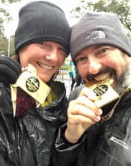 Edward and I at the finishing line of the Hot Chocolate 15k, San Francisco