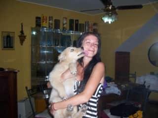 Loving us with Mara, my beautiful little dog, who accompanied me so many years