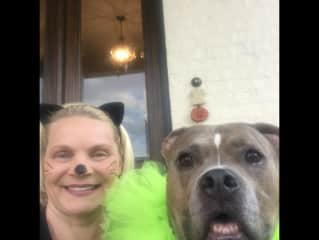 Cindy and Wallace greeting Trick or Treaters