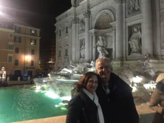 Us and the stunning Trevi Fountain Roma