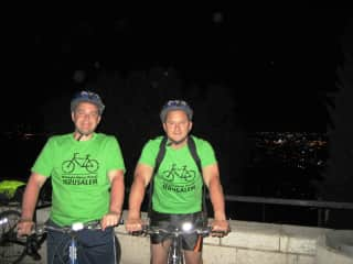 Joe & Sal midnight bike ride in Jerusalem, Israel