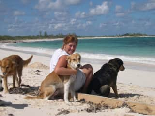 With Pupper, Jack and Sandy (3 of 6!) in the Bahamas (2004)