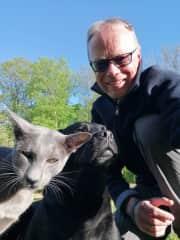 Dog Masala, cat Kailash on a walk with me, Bavaria 2021
