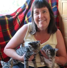 Me with the kittens I was fostering for Love Your Feral Felines
