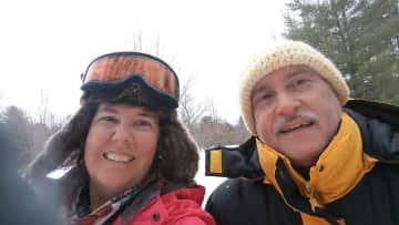 Having fun cross country skiing in Traverse City, Michigan.