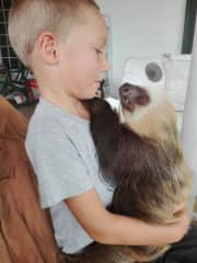 One of Landon's (& the family's) few opportunities getting to hold a sloth while living in Panama.