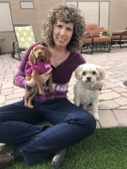 Me, my cavapoo Teddy, and my grand fur baby Lucy, as a puppy