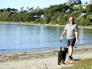 Brian with the lovely Riley on Waiheke Island NZ