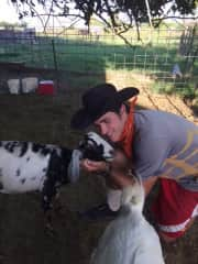 Hanging out with a goat on a farm in AZ.