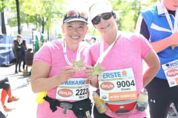 My self on the right, after Vienna Marathon on the 19 the April 2017