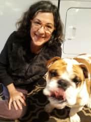 With Oscar, the special-needs English Bulldog.