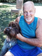 Gordon with Islington, 1 of 2 hunting dogs, Oinville Sur Montcient, France house & pet sit 2018