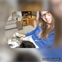Myself and Mimi our rescue cat