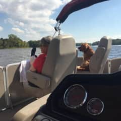 Suzanne, Josie and pontoon on the Mississippi River