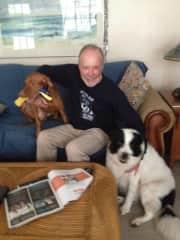 Joe with Coby and Kona