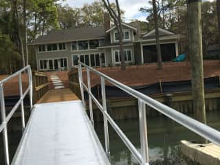 Rear view of home from dock