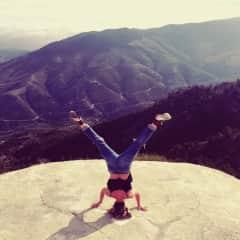 Enjoying yoga and the outdoors.
