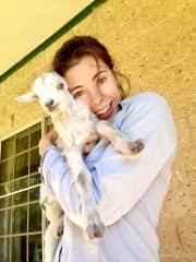 San & baby goat