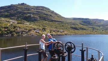 My son and I playing the fool at the dams on Table Mountain, Cape Town.