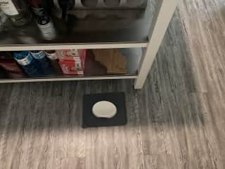 Hygge eats his wet food on a plate on this mat, we keep under the kitchen island