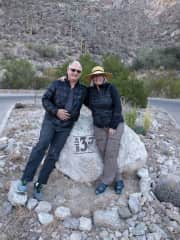 Noreen and Andreas Wiedenfeld at the end of Sabino Canyon road