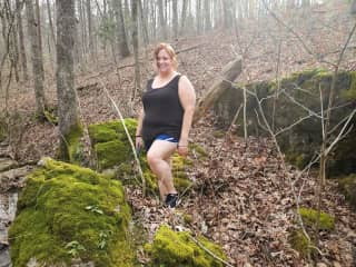 Hiking in the Ozark mountains near my home.