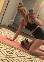 Working out with Mimi; pet-sitting a friend's French Bulldog.