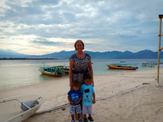 This is me with my boys Adrianand Gabriel.  We live on a small island in Indonesia.  We love the beach and swimming.