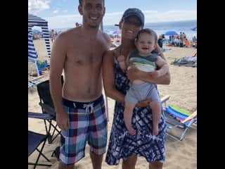 Justin and I with our nephew Mac at the beach in RI!