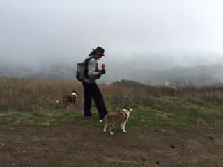 Brian hiking with Ruby and Ozzie
