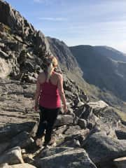 At the top of Tryfan at Snowdonia in Wales