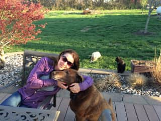 Jazz, Kya, and Charcoal hanging out in the backyard with Leigh Ann.