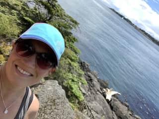 Joy biking on Lopez Island near Seattle, WA.