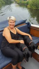 Me with Belle & Mia on boat on Norfolk Broads