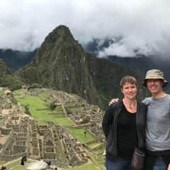Leigh and James at Machu Picchu, Peru, during their 2017/2018 world tour