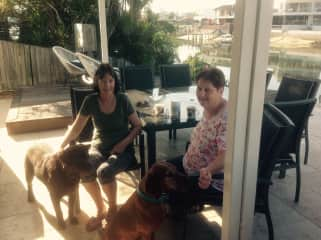 Noela and I at our Gold Coast house sit taking care of Jed and Chilli.